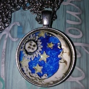 Jewelry - SUN MOON STARS CABACHON GLASS MEDALLION CHAIN